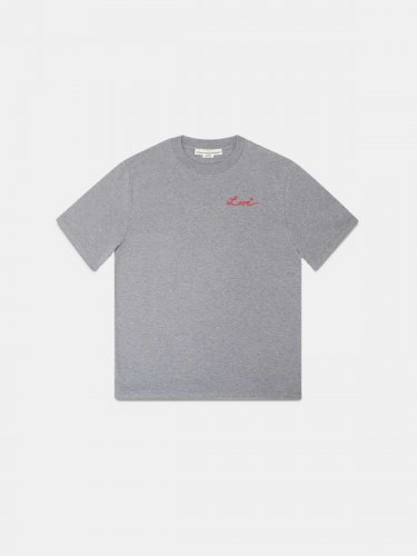 Grey Golden T-shirt with Love embroidery