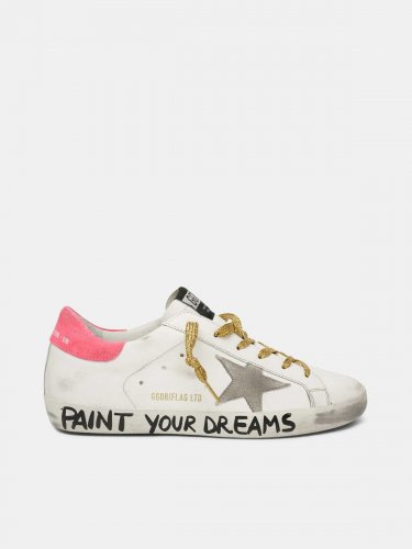 "Leather Super-Star sneakers with the words ""Paint your dreams"""