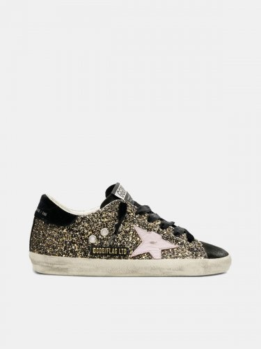Super-Star sneakers in glitter with red leather star