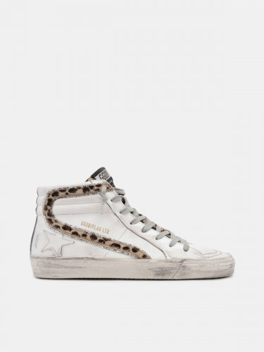 Slide sneakers with leopard print pony skin inserts