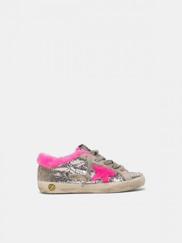 Super-Star sneakers in glitter with fuchsia shearling interior