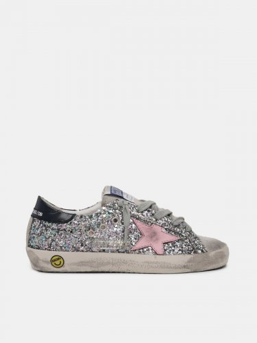 Super-Star sneakers in glitter with pink star