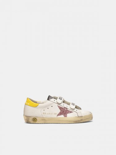 Old School sneakers with glitter star and yellow heel tab