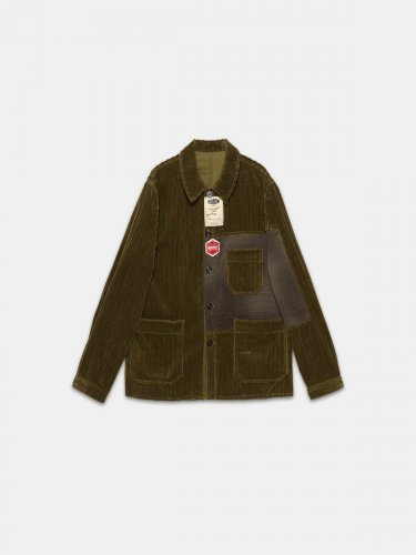 Taro jacket in corduroy velvet with decorative labels