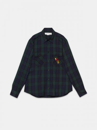 Eiji shirt in tartan with fishing fly decoration