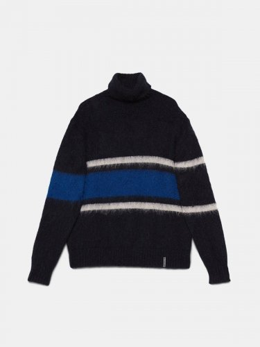 Yoshiro turtleneck sweater in teaselled wool with striped pattern