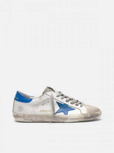 Super-Star sneakers in leather and blue star suede