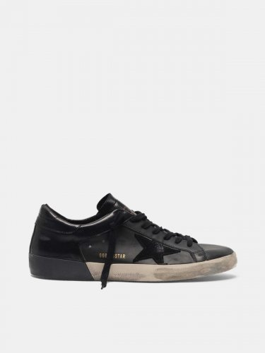 Super-Star sneakers in leather with shiny heel counter and double foxing