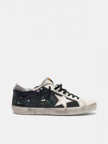 Super-Star sneakers in leather and checked fabric with worn areas