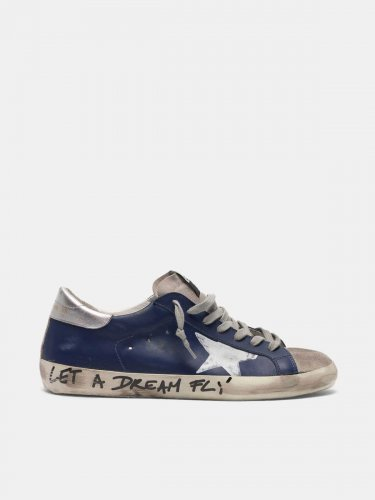 Super-Star sneakers in leather with message on the foxing