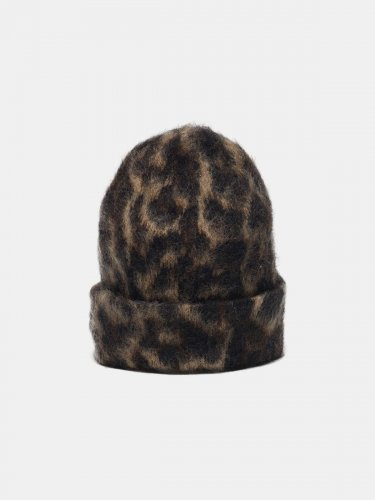 Kiku jaguar jacquard beanie made of brushed mohair wool