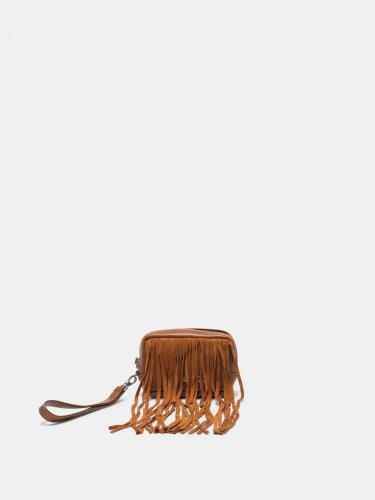 Beauty bag in suede leather with fringe