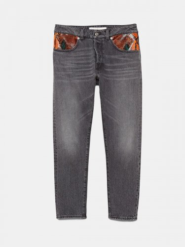 Jolly jeans with snakeskin print leather patch