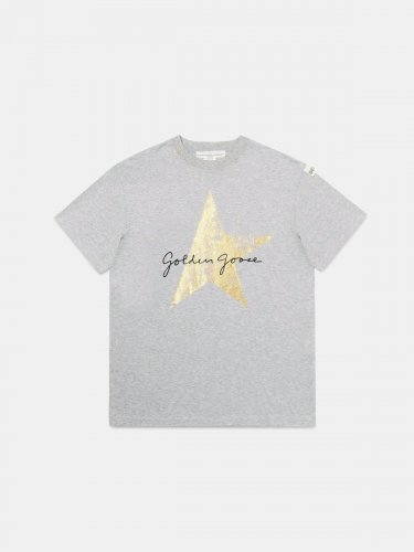 Grey Golden T-shirt with Golden Goose signature and star
