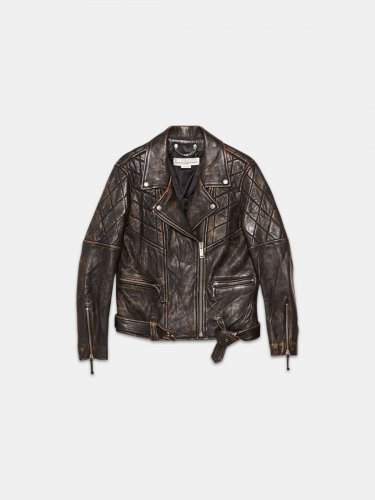 Yasu biker jacket in brown leather