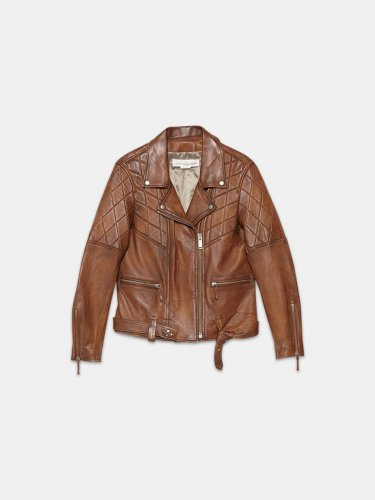 Yasu biker jacket in brown nappa leather with star print