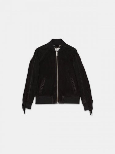 Akiko bomber jacket in suede leather with fringes on the sleeves