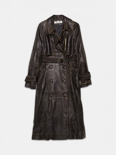 Masami trenchcoat in vintage effect leather