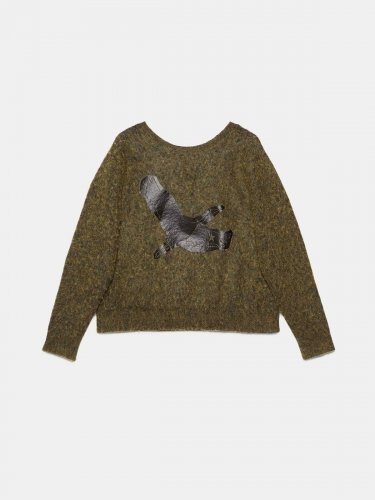 Yumi crew neck sweatshirt with crane print