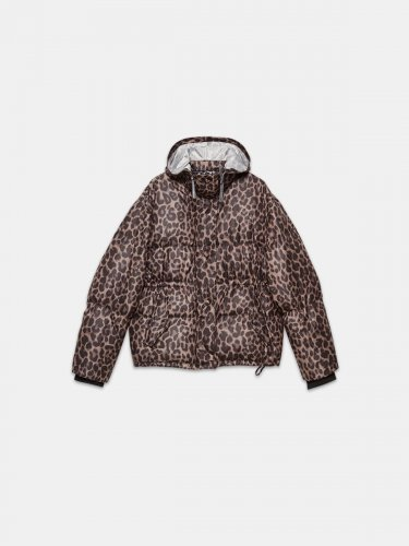 Yuri puffer jacket with leopard print