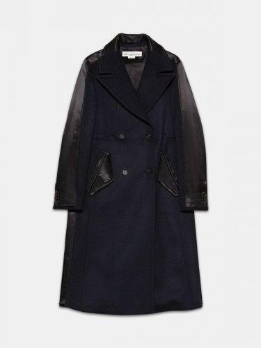 Fuji slim fit coat with contrasting texture