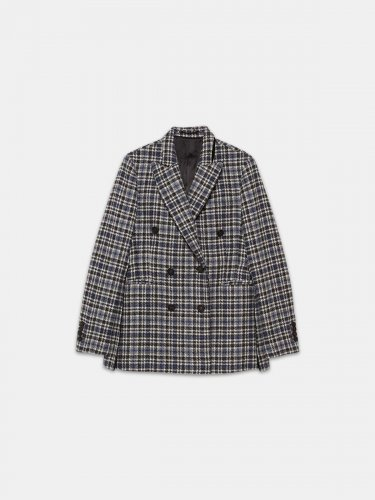 Himawari jacket in virgin wool with checked pattern