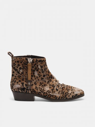 Viand ankle boots in leopard-print pony skin