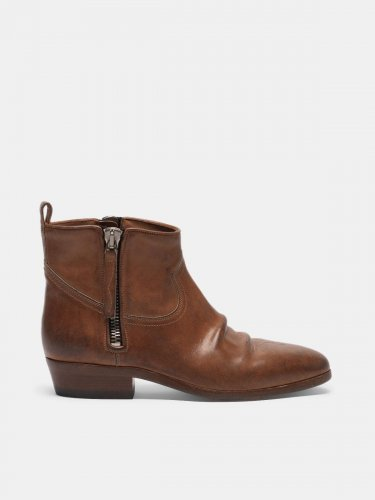 Viand ankle boots in leather with cowboy-style decoration