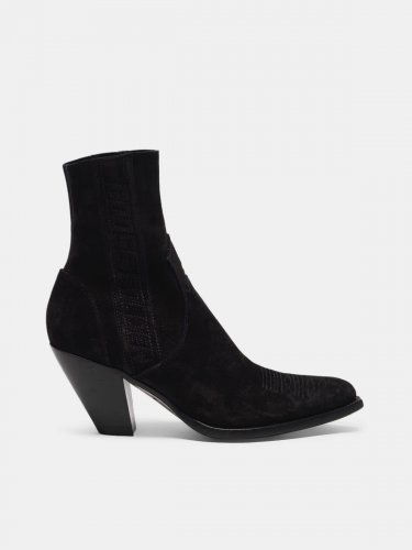 Low Scala suede ankle boots with side band with logo.