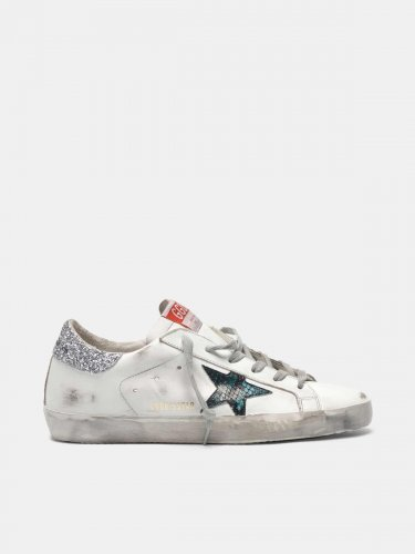 Super-Star sneakers with snake-print star and glittery heel tab