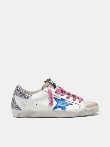 Super-Star sneakers with metallic star and glittery heel tab