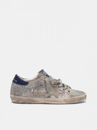 Super-Star sneakers in all-over glitter with suede insert
