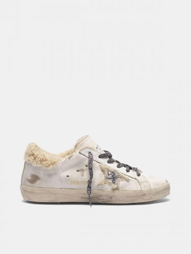Super-Star sneakers with glittery star and shearling inserts