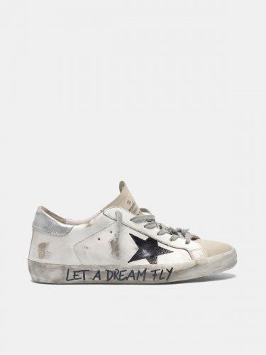 "Super-Star sneakers in leather with ""Let a dream fly"" lettering"