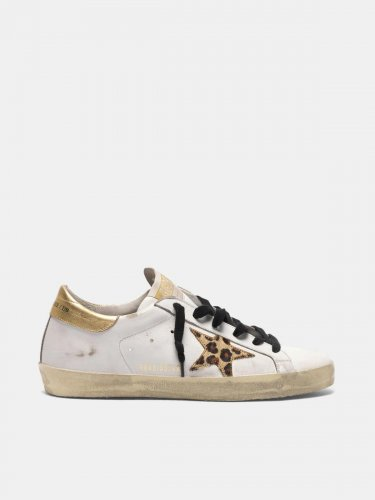 Super-Star sneakers with leopard print star and snakeskin print heel tab