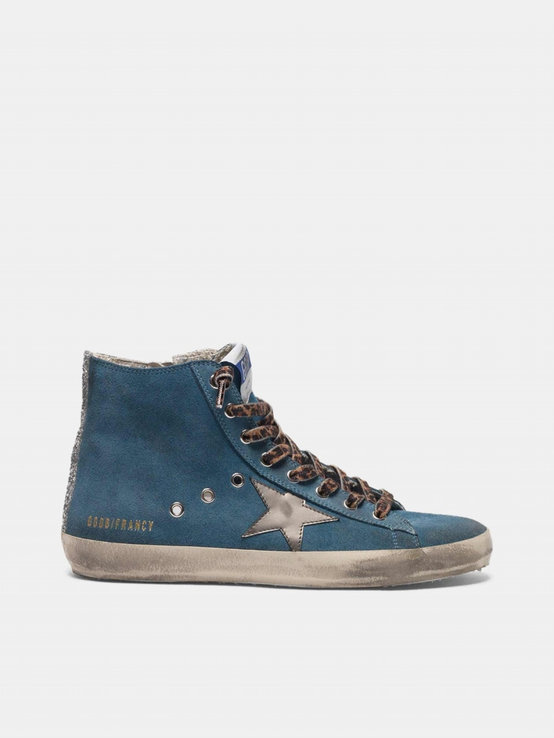 Francy sneakers in suede leather with silver laminated star