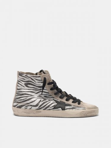 Francy sneakers with glittery zebra pattern