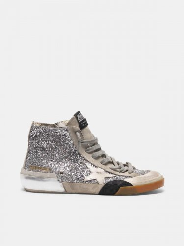 Slide sneakers in patchwork style with multi-foxing technique and glitter upper