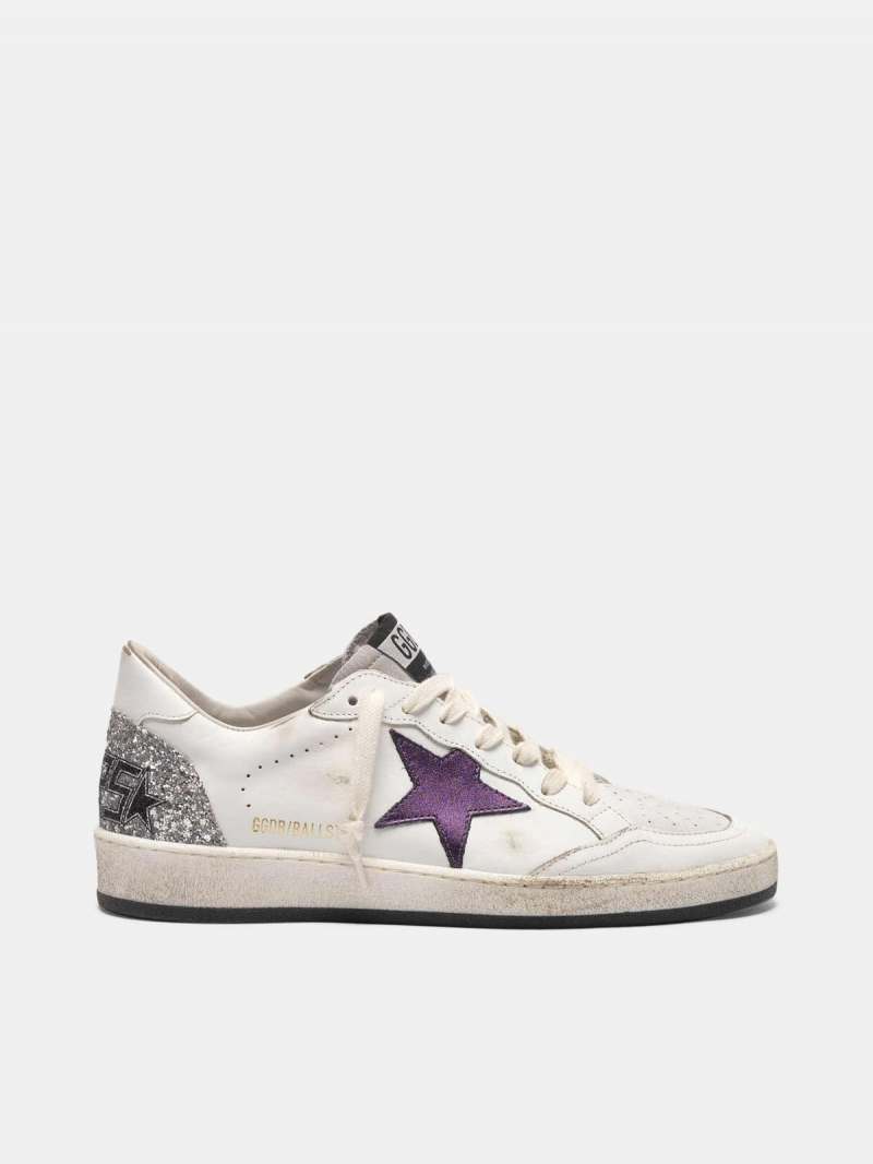 Ball Star sneakers with metallic purple star and glitter back