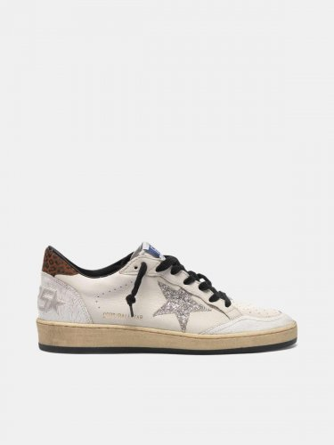 Ball Star sneakers with glittery star and leopard-print heel tab