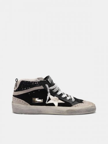 Mid Star sneakers in velvet, suede and glitter back
