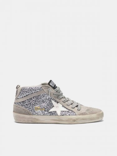 Mid Star sneakers in glitter and suede