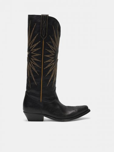 Low Wish Star boots in glossy leather with cowboy-style decoration