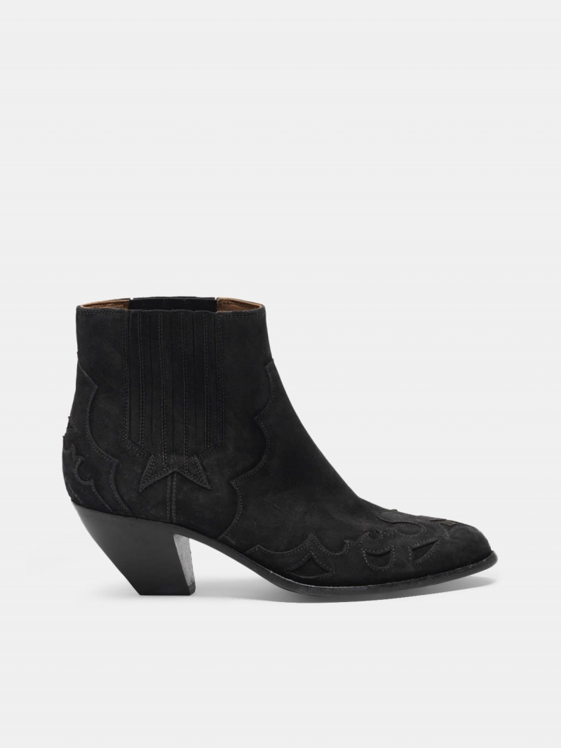 Sunset Flowers ankle boots in suede with cowboy-style decoration