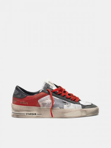 Distressed black and red Stardan LTD sneakers