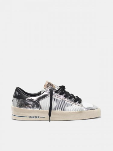 Stardan sneakers in laminated silver with floral design relief