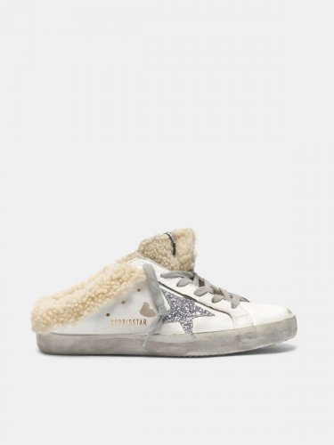 Super-Star sneakers in sabot style with shearling insert and glitter star
