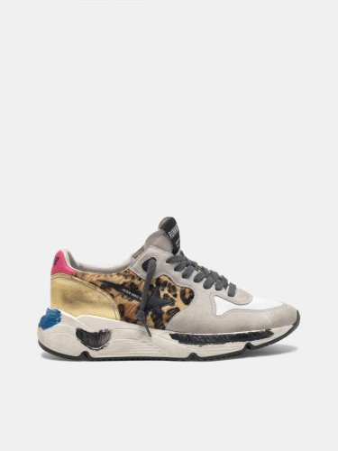 Running Sole sneakers in leopard print pony skin and gold back