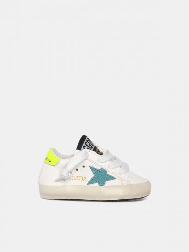 Super-Star sneakers with blue star and fluorescent yellow heel tab