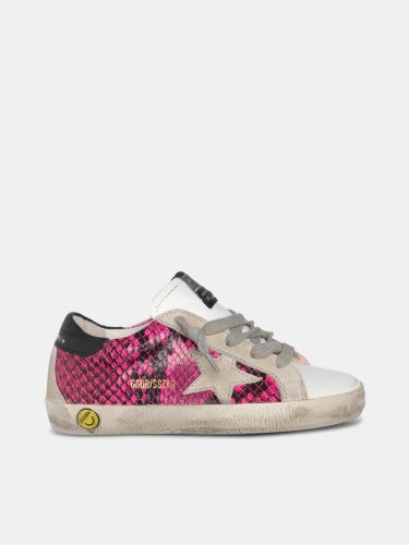 White and fuchsia snakeskin-print Super-Star sneakers